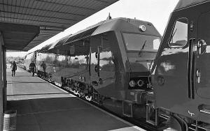 Ankomst til Horsens på præsentationsturen. Det var MZ 1444 og ME 1505 der blev anvendt som trækkraft - 13. maj 1982