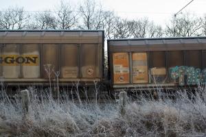 Bagerst i HG 45685 (Mgb-Pa) afsporede d. 29.11.2012 tre aksler - fotograferet ved Sommersted - 01.12.2012