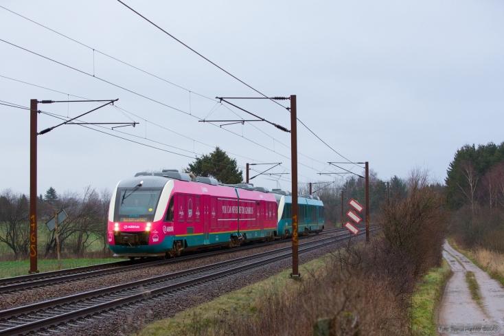 Arriva Lint AR 2048 og AR 2050 som AE 8025 (Kh-Ab) mellem Holmstrup og Tommerup - 21.12.2013