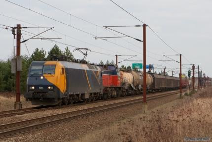 Railion DK EG 3104 og GC T44 416 med G44913 (Mgb-Kd) ved Nyborg - 24.02.2008