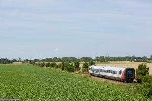 Regionstog (LJ) MF sæt 22 som 225055 (Nf-Nsk) mellem Grænge og Sakskøbing - 05.08.2013