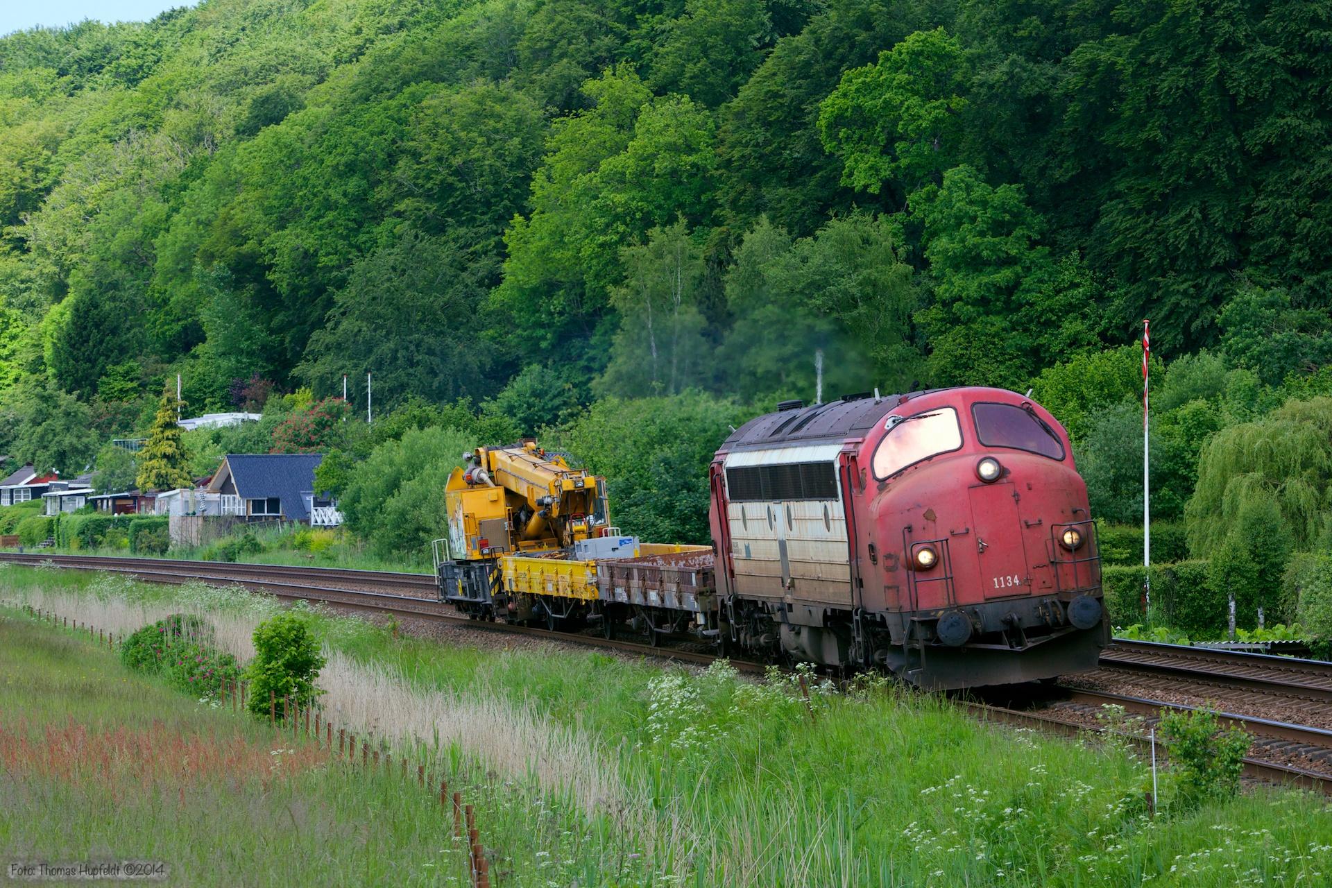 Rail Care MY 1134 med Kørekran 160 som RB 6143 (Es-Br) mellem Velje og Hedensted - 29.05.2014