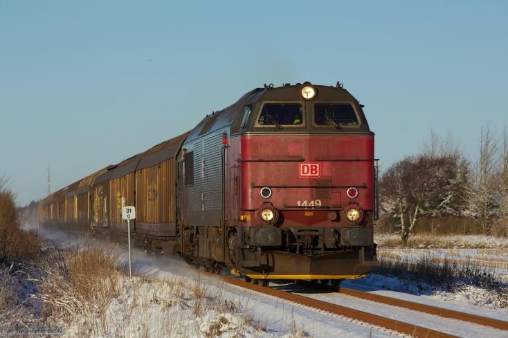 DB Schenker MZ 1449 med G6723 (Bm-Tdr) mellem Rejsby og Brøns - 06.12.2012