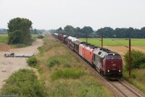 DB Schenker MZ 1449 og 185 330-5 og 185 323-0 med G 88782 (Pa-Fa) mellem Farris og Sommersted - 07.08.2014
