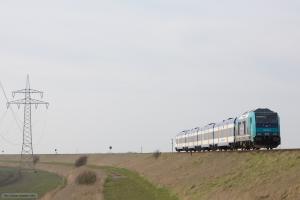 NOB 245 205-0 som NOB 81751 (Westerland-Husum) mellem Morsum og Klanxbüll – 26.03.2016