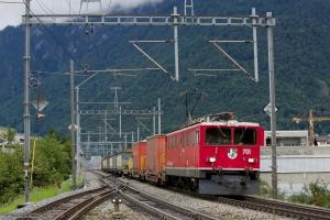 RhB Ge 6/6 II 701 med 11 vogne som 5257 (Landquart-Ilanz) ved Chur West - 13.08.2014