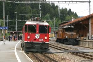 RhB Ge 4/4 II 612 og Ge 6/6 I ved Reichnau Tamins - 22.06.2004